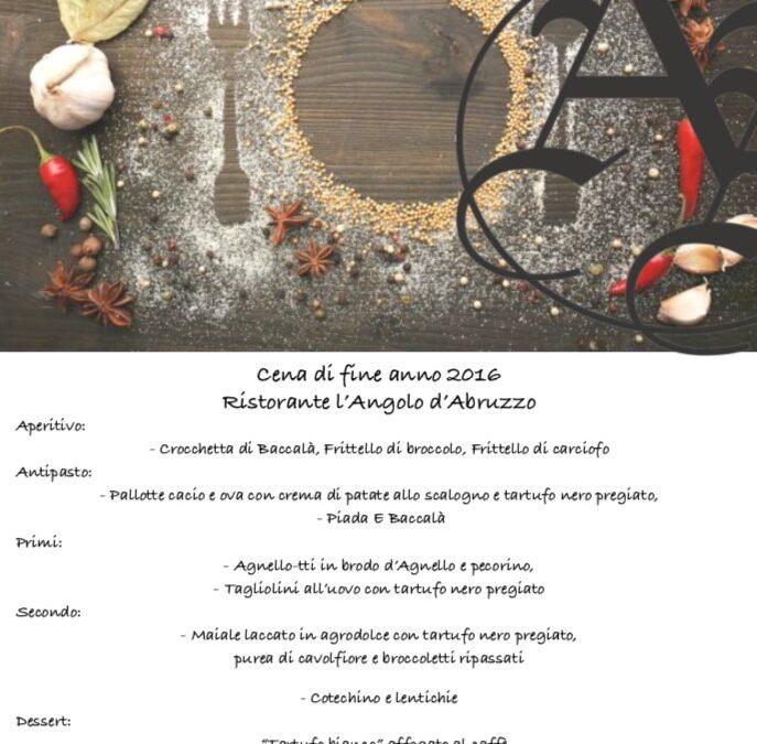 Cena di fine anno 2016 – L'Angolo d'Abruzzo